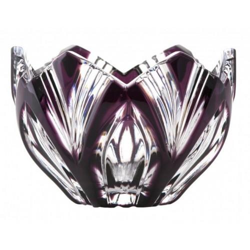 Krištáľová miska Lotos, farba fialová, priemer 85 mm