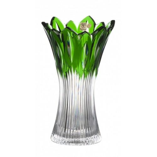 Krištáľová váza Flame, farba zelená, výška 255 mm