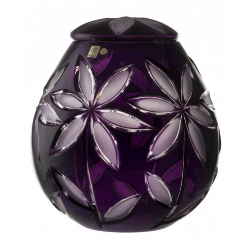 Krištáľová urna Linda mat, farba fialová, výška 290 mm