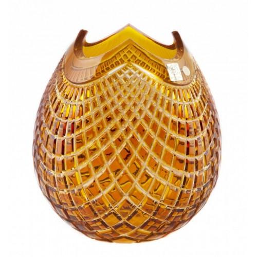 Krištáľová váza Quadrus, farba jantárová, výška 280 mm