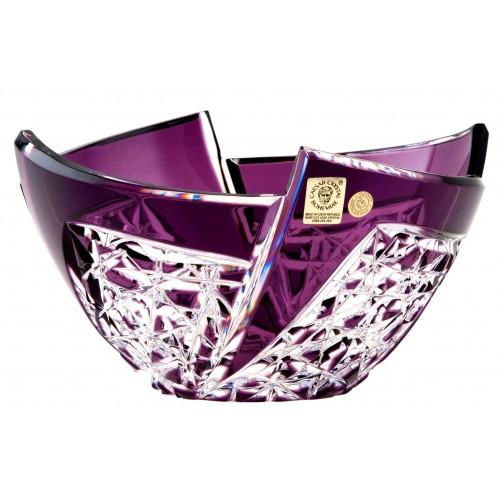 Krištáľová misa Fan, farba fialová, priemer 180 mm