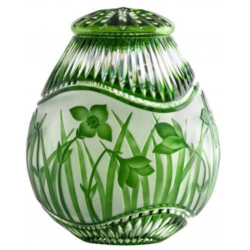 Krištáľová urna Kvety, farba zelená, výška 230 mm