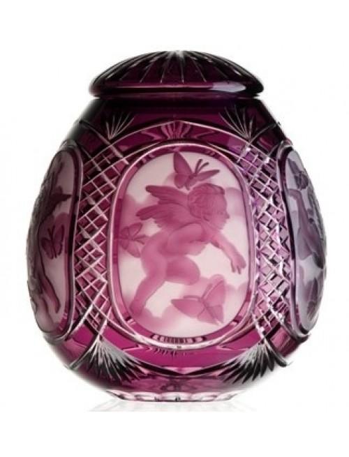Krištáľová urna Anjel, farba fialová, výška 290 mm