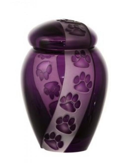 Krištáľová urna Labky, farba fialová, výška 120 mm