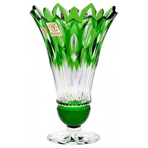 Krištáľová váza Flame, farba zelená, výška 150 mm