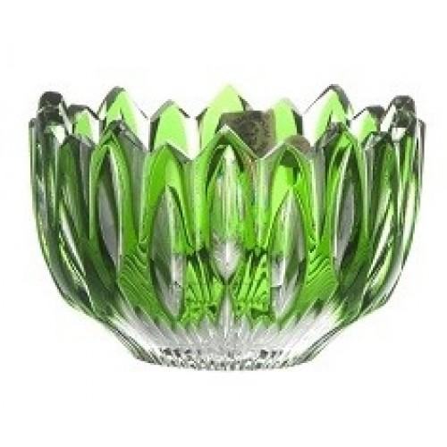 Krištáľová miska Flame, farba zelená, priemer 110 mm