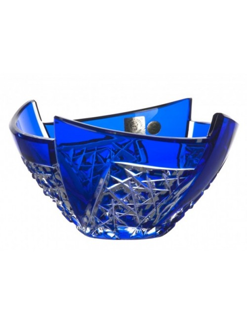 Krištáľová misa Fan, farba modrá, priemer 155 mm