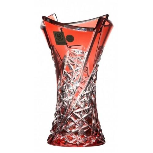 Krištáľová váza Fan, farba rubín, výška 155 mm