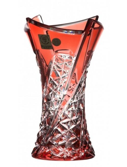 Krištáľová váza Fan, farba rubínová, výška 155 mm