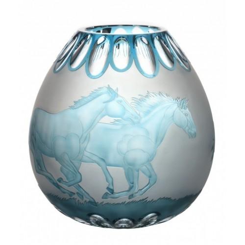 Krištáľová váza Kone, farba azúrová, výška 280 mm