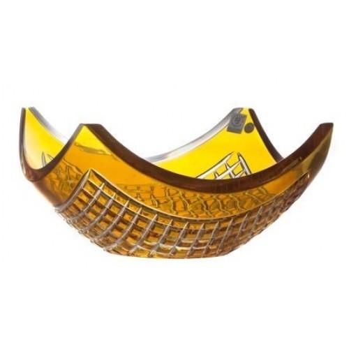 Krištáľová misa Quadrus, farba amber, priemer 280 mm