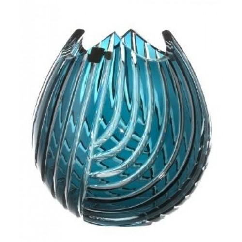 Krištáľová váza Linum, farba azúrová, výška 210 mm