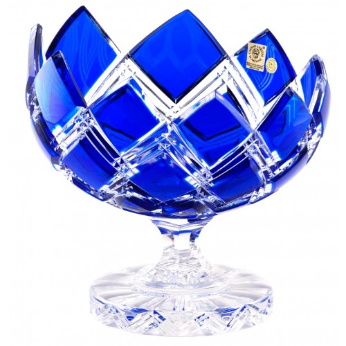Krištáľová misa na nohe Harlequin, farba modrá, priemer 200 mm