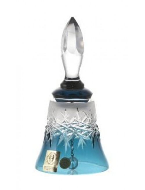 Krištáľový zvonček Hoarfrost, farba azúrová, výška 126 mm