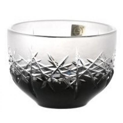 Krištáľová miska Hoarfrost, farba čierna, priemer 110 mm