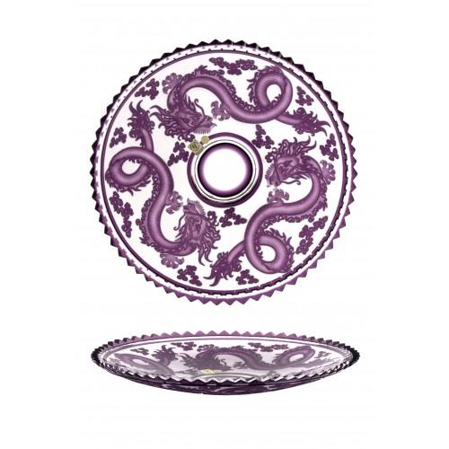 Krištáľový tanier Drak, farba fialová, priemer 350 mm