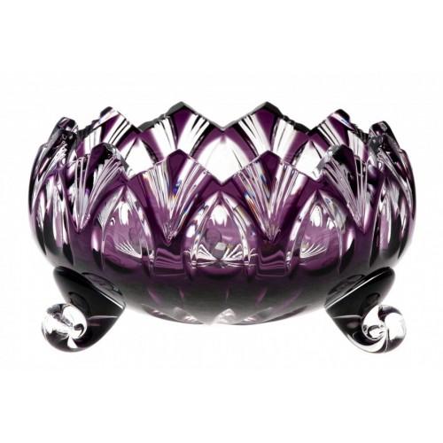 Krištáľová miska Lotos, farba fialová, priemer 102 mm