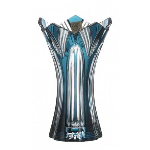 Krištáľová váza Lotos II, farba azúrová, výška 155 mm