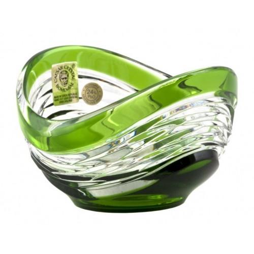 Krištáľová miska Poem, farba zelená, priemer 95 mm