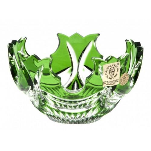 Krištáľová miska Diadem, farba zelená, priemer 130 mm