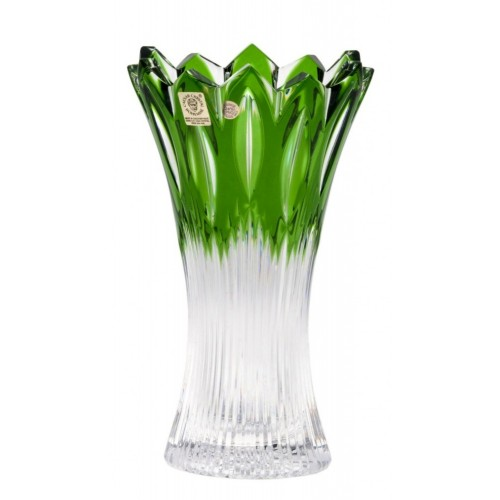 Krištáľová váza Flame II, farba zelená, výška 205 mm