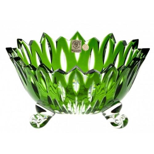 Krištáľová misa Flame, farba zelená, priemer 210 mm