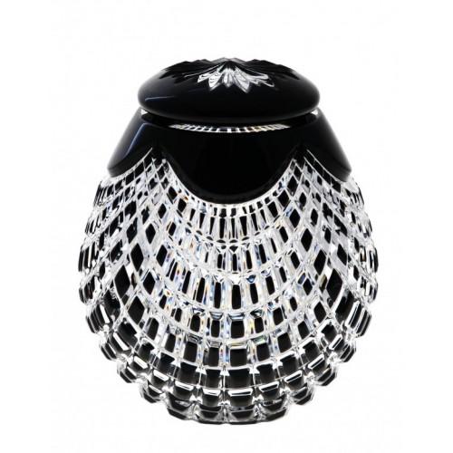 Krištáľová urna Quadrus, farba čierna, výška 145 mm