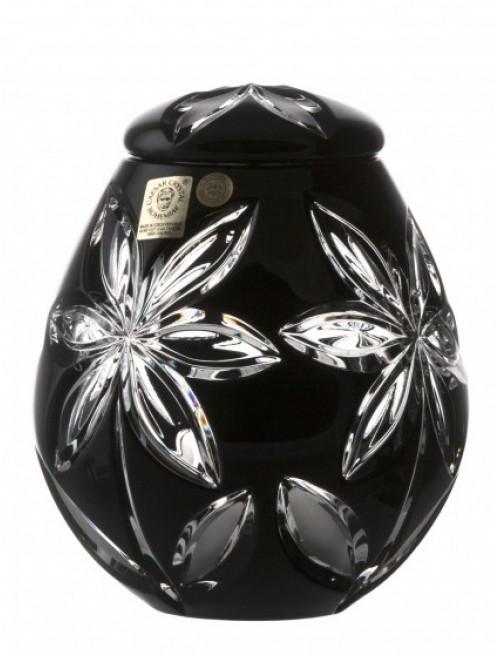 Krištáľová urna Linda, farba čierna, výška 145 mm