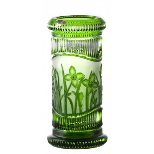 Krištáľová váza Kvety, farba zelená, výška 300 mm