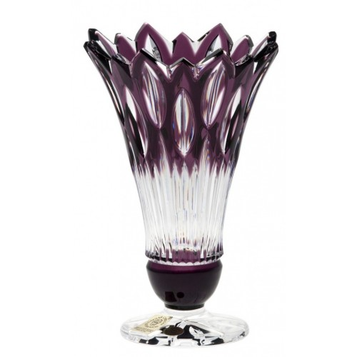 Krištáľová váza Flame, farba fialová, výška 150 mm