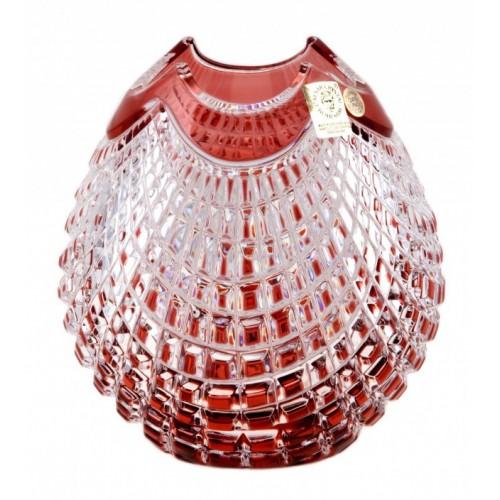 Krištáľová váza Quadrus, farba rubínová, výška 135 mm