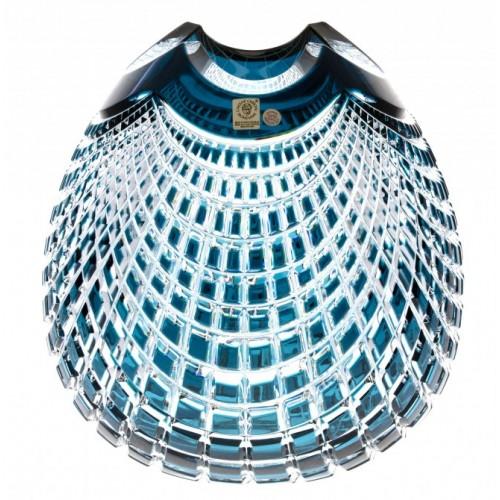 Krištáľová váza Quadrus, farba azúrová, výška 135 mm