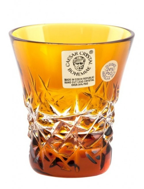 Krištáľový pohárik Hoarfrost, farba amber, objem 45 ml