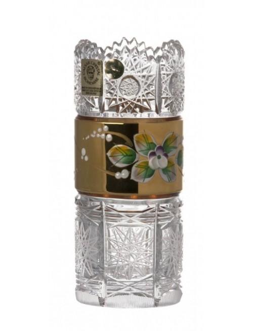 Krištáľová váza zlato, farba číry krištáľ, výška 130 mm