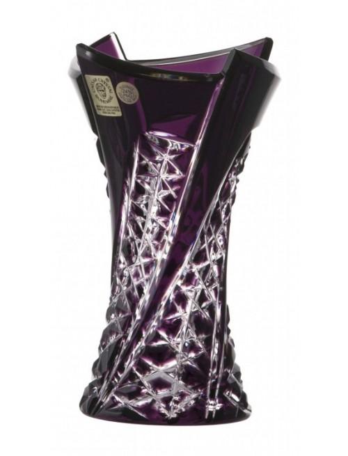 Krištáľová váza Fan, farba fialová, výška 155 mm