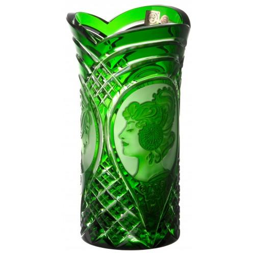 Krištáľová váza Mucha, farba zelená, výška 210 mm