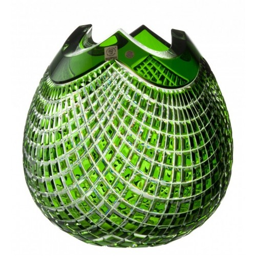 Krištáľová váza Quadrus, farba zelená, výška 250 mm
