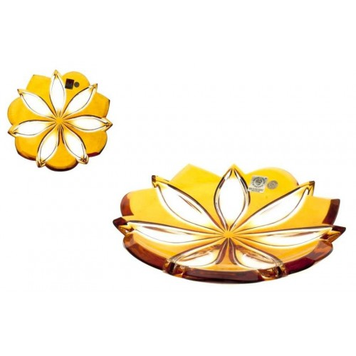 Krištáľový tanier Linda, farba amber, priemer 180 mm