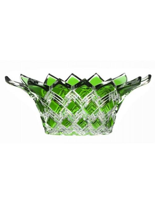 Krištáľová misa Harlequin, farba zelená, priemer 300 mm
