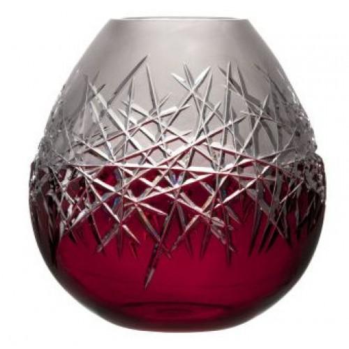 Krištáľová váza Hoarfrost, farba rubínová, výška 280 mm