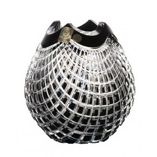 Krištáľová váza Quadrus, farba čierna, výška 135 mm