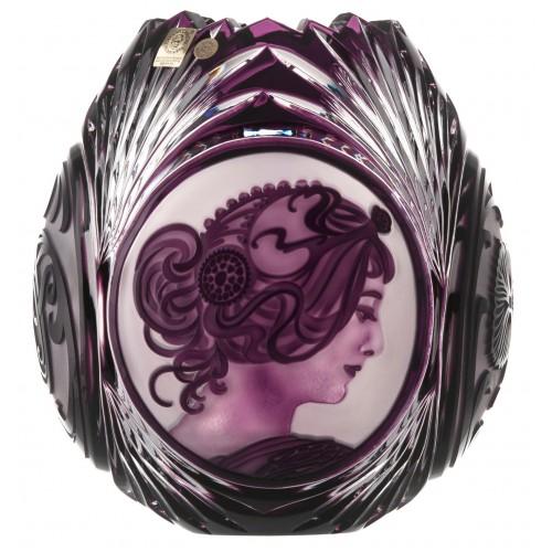 Krištáľová váza Mucha, farba fialová, výška 210 mm