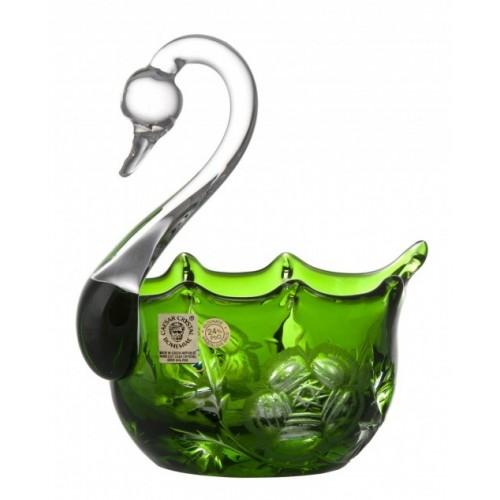 Krištáľová labuť Rose, farba zelená, priemer 116 mm