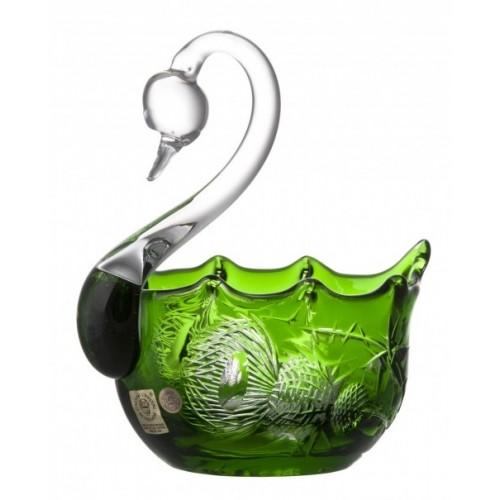 Krištáľová labuť Thistle, farba zelená, priemer 116 mm