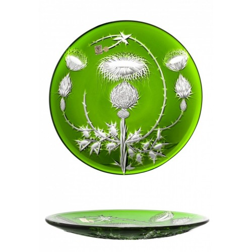 Krištáľový tanier Thistle, farba zelená, priemer 300 mm