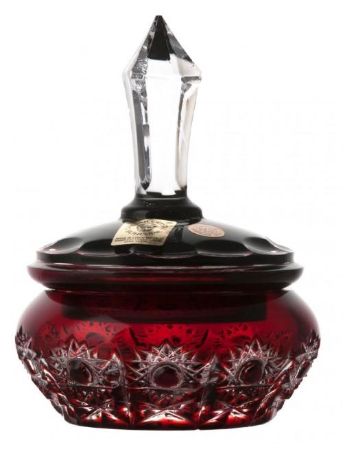 Krištáľová dóza Petra, farba rubínová, výška 110 mm