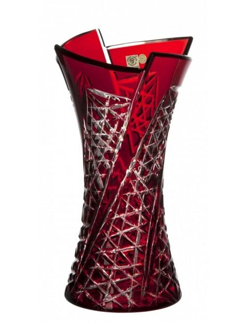Krištáľová váza Fan, farba rubínová, výška 305 mm