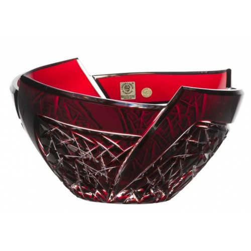 Krištáľová misa Fan, farba rubínová, priemer 225 mm