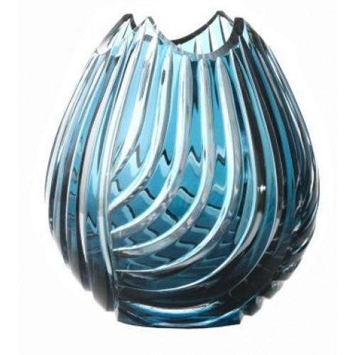 Krištáľová váza Linum, farba azúrová, výška 135 mm