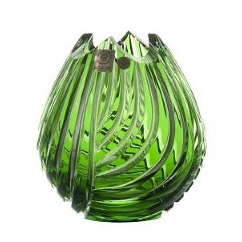 Krištáľová váza Linum, farba zelená, výška 135 mm